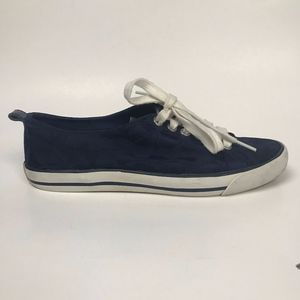 Blue Canvas Lace-up Sneakers